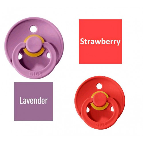 Bibs Strawberry/Lavender Pacifier made of 100% natural rubber - cherry shape 0-6 months (2 pcs.)