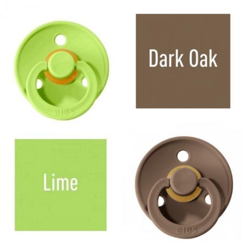 Bibs Lime/Dark Oak Pacifier made of 100% natural rubber - cherry shape 0-6 months (2 pcs.)