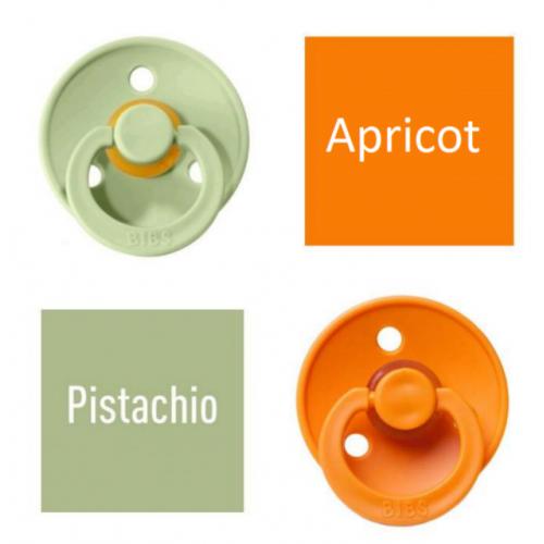 Bibs Pistachio/Apricot Pacifier made of 100% natural rubber - cherry shape 6-18 months (2 pcs.)