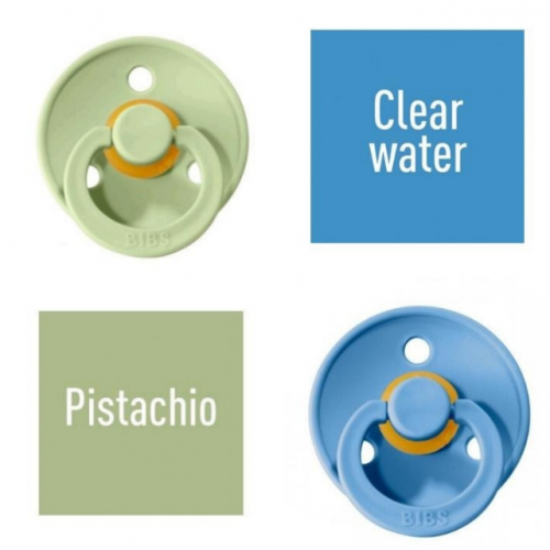 Bibs Pistachio/Clear water Pacifier made of 100% natural rubber - cherry shape 6-18 months (2 pcs.)