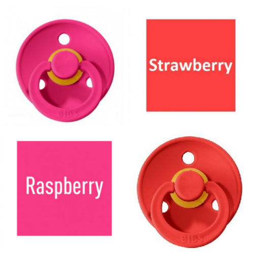Bibs Raspberry/Strawberry Pacifier made of 100% natural rubber - cherry shape 0-6 months (2 pcs.)