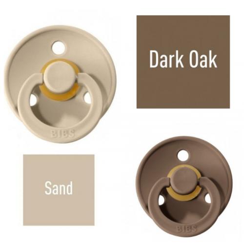 Bibs Dark Oak/Sand Pacifier made of 100% natural rubber - cherry shape 0-6 months (2 pcs.)