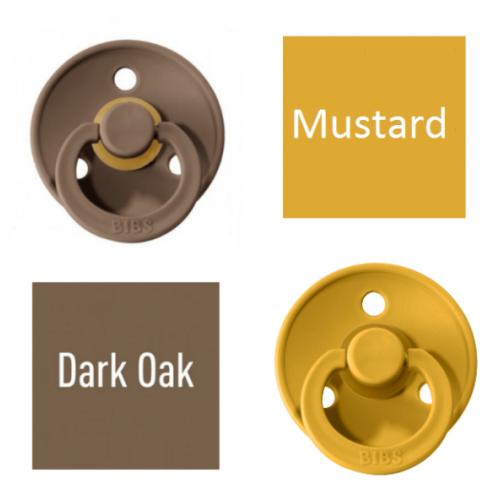 Bibs Dark Oak/Mustard Pacifier made of 100% natural rubber - cherry shape 6-18 months (2 pcs.)