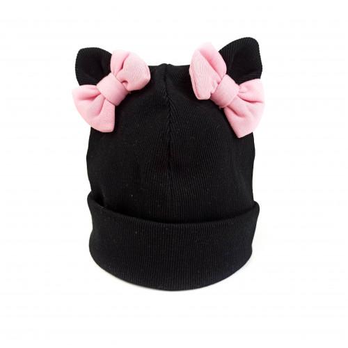 Children's cotton hat with bows
