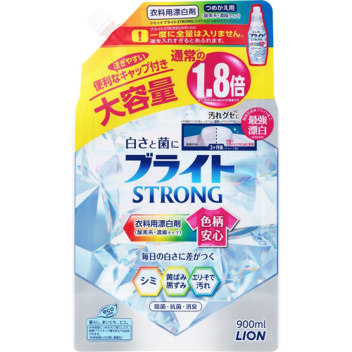 """Lion """"Bright Strong"""" liquid oxygen bleach with antibacterial effect refill 900ml"""