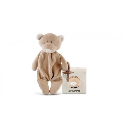 Wooly organic 00106 Comforter teddy with dummy holder