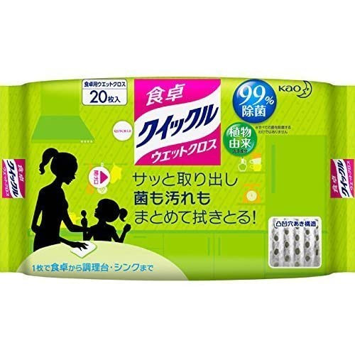 КAO Quick Le table wet wipes with green tea scent 20pcs