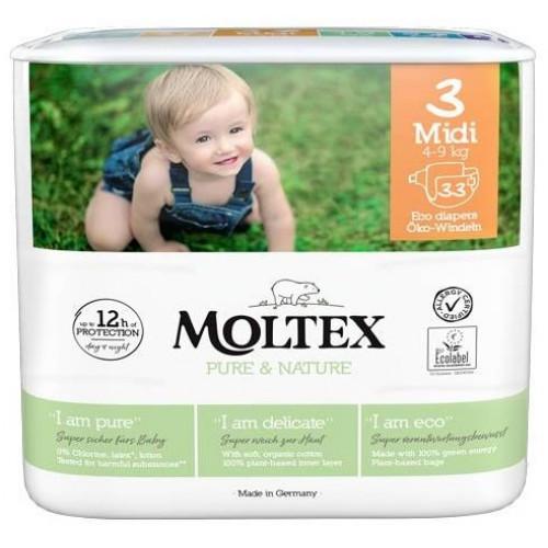 Diapers Moltex Pure & Nature 3 Midi 4-9kg 33pcs