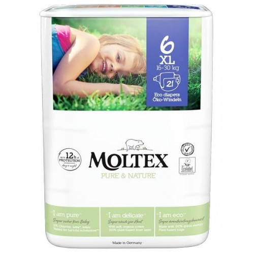 Diapers Moltex Pure & Nature 6 XL 16-30kg 21pcs