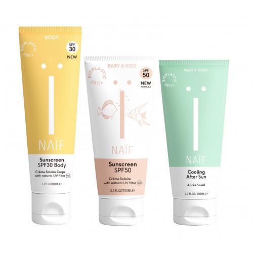 Family pack: sunscreen SPF30 body + SPF50 kids + aftersun